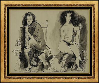 Byron Browne, 'Byron Browne Original Gouache Painting Signed Nude Portrait Antique Artwork oil', 1955