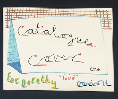 David Hockney, ''Catalogue Cover', 7 colour hand personalised drawing signed by David Hockney.', 1990