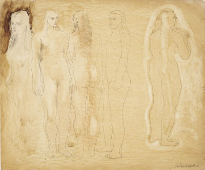 Barbara Hepworth, 'Group of Figures and Head (Burnt Umber)', 1951
