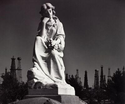 Ansel Adams, 'Cemetery Statue and Oil Derricks. Long Beach, CA ', 1939