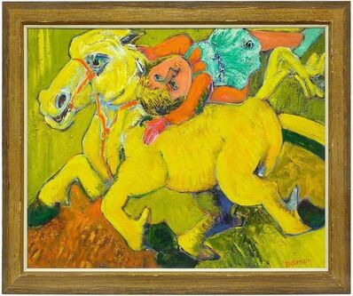 Hubert Damon, 'Equestrian Circus Act, Large Bold Expressionist Oil Painting', Late 20th Century