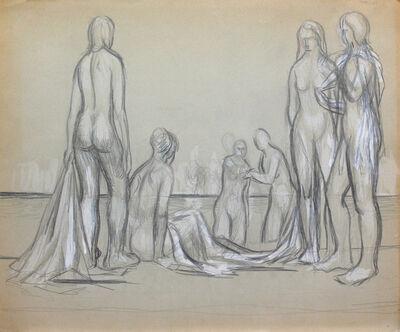 Alex Colville, 'Six Figures on Beach', 19 November 1951