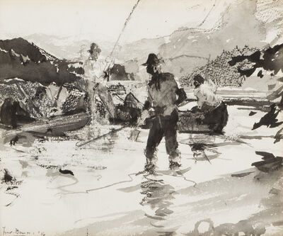 Frank Weston Benson, '[Salmon Fishing Scene]', 1916
