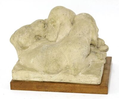 Barbara Tribe, 'Red Setter Puppies', baked clay, on a wooden plinth'