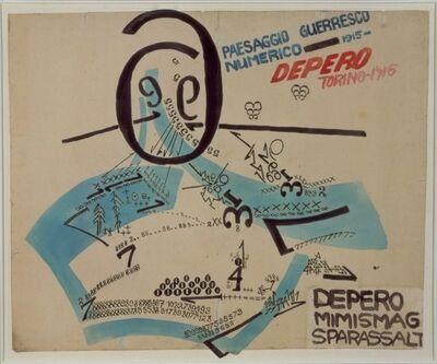 Fortunato Depero, 'Paesaggio Guerresco Numerico', 1915