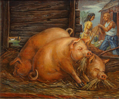 Frederick Hagan, 'Pigs and Chicken', 1946