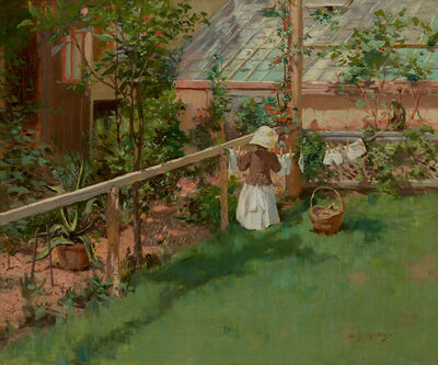 Irving Ramsey Wiles, 'At the Clothesline'