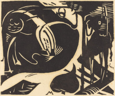 Franz Marc, 'Two Mythical Animals (Zwei Fabeltiere)', 1914