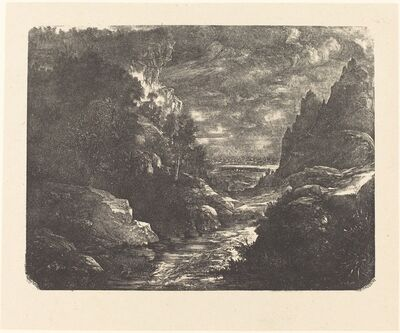 Rodolphe Bresdin, 'The Stream in the Gorge', 1880