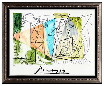 Pablo Picasso, 'Pablo Picasso Color Lithograph Joueur Flute Gazelle Large Cubism Framed Artwork', 1982