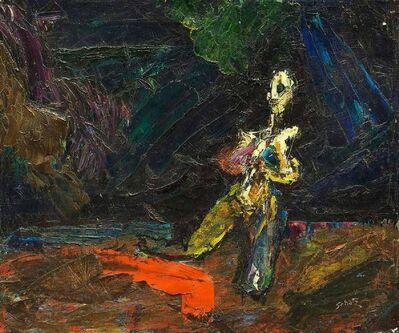 Bezalel Schatz, 'Modernist Interior Kneeling Female Nude Figure Bezael Schatz Israeli Painting', Mid-20th Century