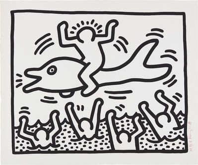 Keith Haring, 'Untitled (Man on Dolphin)', 1987