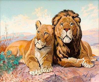 Lynn Bogue Hunt, 'Lion and Lioness, The Saturday Evening Post Cover', 1932