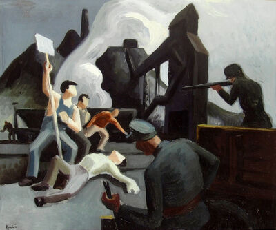 Thomas Hart Benton, 'Mine Strike, Pittsburgh PA (Waiting on verso, double-sided work) ', 1933