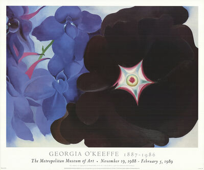 Georgia O'Keeffe, 'Black Hollyhock with Blue Larkspur', 1988