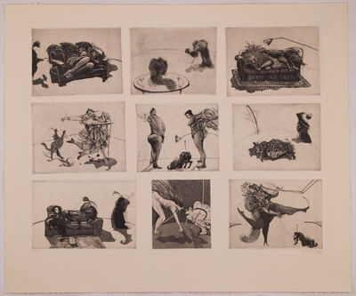 "William Kentridge, '""Domestic Scenes"" (nine plates on one sheet)', 1980"