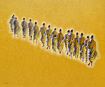 Min Wae Aung, 'Novices on the morning round (1)', 2015