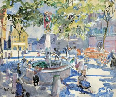 Oskar Laske, 'The St. Christoph's fountain in Ulm', 1922