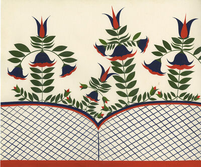 Clare E. Rojas, 'Untitled (Red and Blue Flowers with Lattice)', 2009