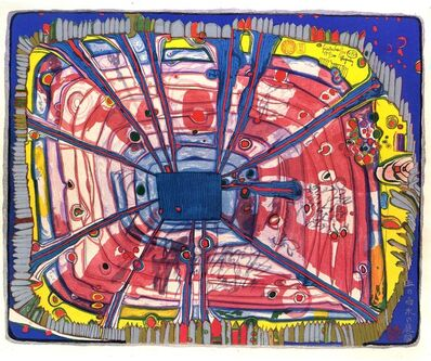 Friedensreich Hundertwasser, 'Rain of blood is falling into the garden', 1972