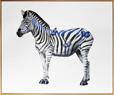 SN, 'Zebra on a Blue Day', 2019