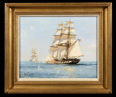 Montague Dawson, 'The American Privateer 'Grand Turk' Capturing the English Brig 'Acorn', March 18, 1815', 1940-1970