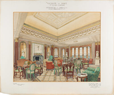"""Anonymous, '""""Viceroy of India"""" 1st Class Lounge', 20th century"""