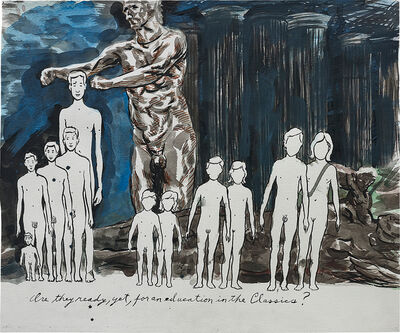 Raymond Pettibon, 'Untitled (Are they ready, yet, for an education in the classics?)', 2003