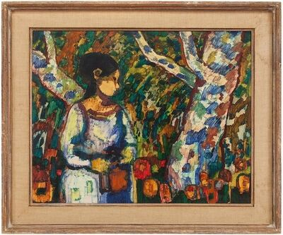Donald Roy Purdy, 'Modernist Woman With Flowers in Forest', 20th Century