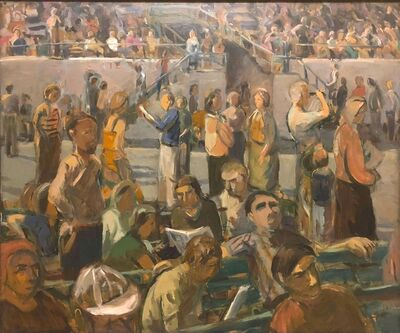 Anne Diggory, 'Saratoga Springs Racetrack, Summer Grandstand Crowd', ca. 1978