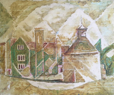 Marie Vorobieff Marevna, 'A view of Athelhampton House with dovecote to the foreground', 1955