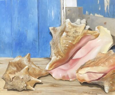"Michel Brosseau, '""Pretty in Pink"" photorealistic oil painting of conch shells in front of a blue door', 2019"