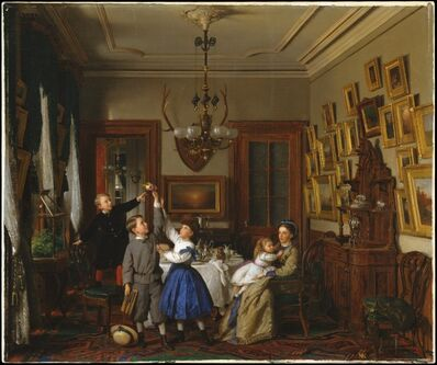 Seymour Joseph Guy, 'The Contest for the Bouquet: The Family of Robert Gordon in Their New York Dining-Room', 1866