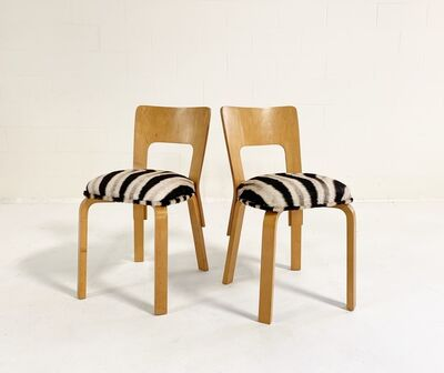 Alvar Aalto, 'Model 66 Chairs in Zebra Hide, pair', mid 20th century