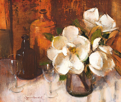 Irmin Henkel, 'Still Life with Magnolias, Bottles and Wine Glasses'