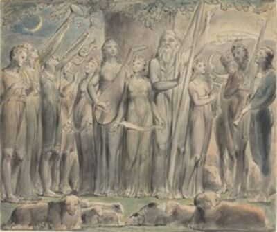 William Blake, 'Job and His Family Restored to Prosperity', 1821