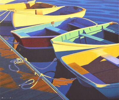 "Rob Brooks, '""""Skiffs"" oil painting of colored row boats lined up at a dock in the water', 2020"