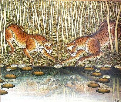 "Gustavo Novoa, '""Lotus Secret"" Leopards At River Edge In Jungle', 1990-1999"