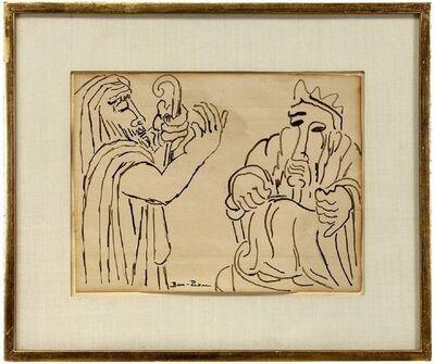 Ben-Zion Weinman, 'Biblical Scene, (2 Jewish Men) 1930s Modernist Ink Drawing', Early 20th Century