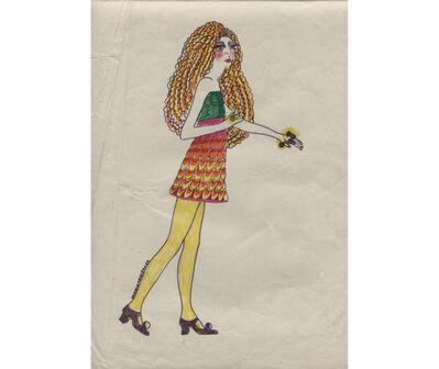 Delia Cancela, 'Chica con rulos y medias amarillas', 1967