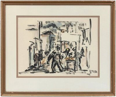 David Hendren, 'UNTITLED (ABSTRACT ISRAELI MARKET TOWN SCENE)', Mid-20th Century