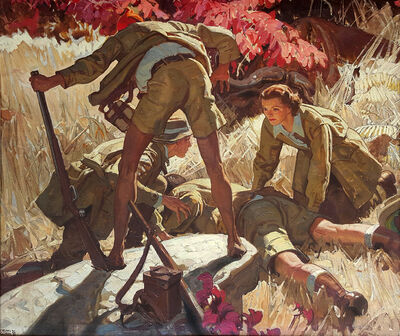 Dean Cornwell, 'He Lay Face Down, The Short Happy Life of Francis Macomber, Ernest Hemingway', 1936