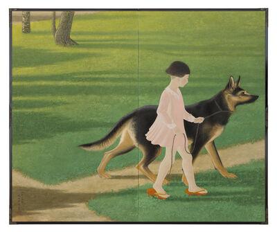 Eiko Ikeda, 'Folding Screen, Young Girl and Shepherd (T-2273)', 1934