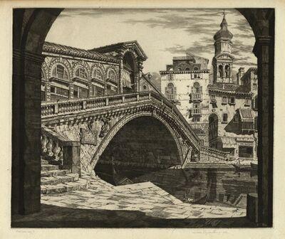 John Taylor Arms, 'Shadows of Venice.  (Il Ponte di Rialto, Venezia.) (Rialto Bridge Venice)', 1930
