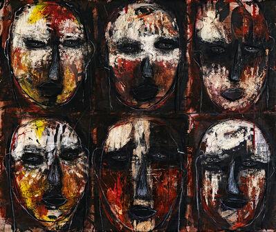 Julio César Cepeda Duque, 'Cabezas, pintura de guerra / Heads, war paint', 2020