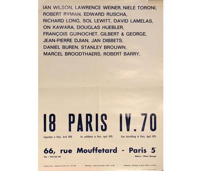 David Lamelas, '18 Paris. IV 70. An exhibition in Paris', 1970