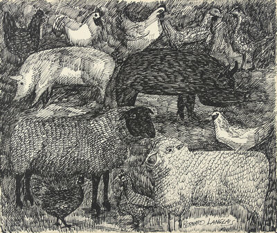 Bernard Langlais, 'Sheep, Pigs, and Chickens', ca. 1970