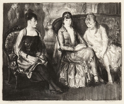 George Wesley Bellows, 'Elsie, Emma and Marjorie, Second Stone', 1921