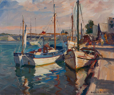 Emile Albert Gruppe, 'Boats beside the Pier, Tarpon Springs, Florida', 19th -20th Century