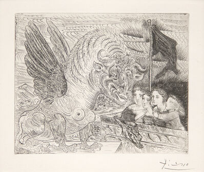 Pablo Picasso, 'Harpye a Tete de Taureau, et Quatre Petites Filles sur une Tour Surmontee d'un Drapeau Noir', 1934